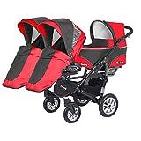 Kinderwagen für Drillinge Säugling und ältere Zwillinge 1 Gondel 3 Sportsitze Trippy Kinderwagen 2in1 - 2